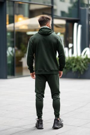 Set Cotton Blend hanorac si pantalon conic dark green [7]