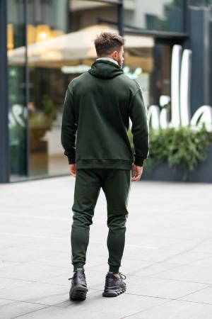 Set Cotton Blend hanorac si pantalon conic dark green [8]