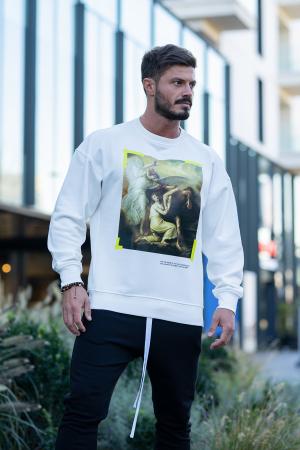 Set Easy-Fit bluza imprimata si pantalon conic White/Black [5]