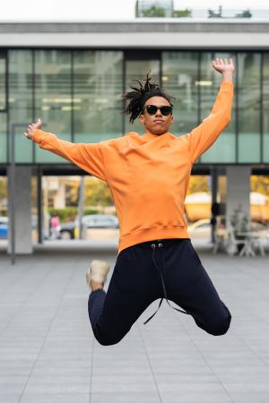 Set West Cartel Bluza Oversized si Pantalon lejer Orange/Navy [4]