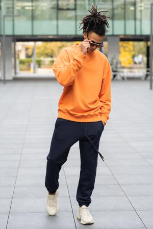 Set West Cartel Bluza Oversized si Pantalon lejer Orange/Navy [1]