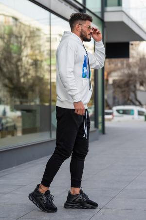 Set Easy-Fit hanorac imprimat si pantalon conic White/Black [2]