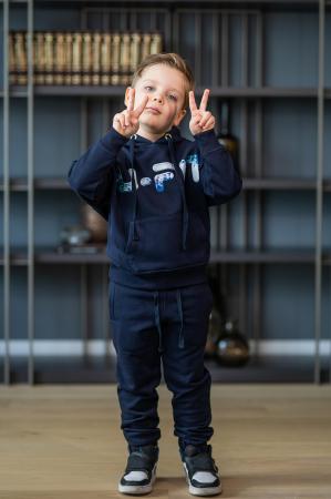 Set Easy-Fit Kids hanorac imprimat si pantalon Navy [6]