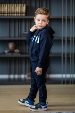 Set Easy-Fit Kids hanorac imprimat si pantalon Navy [5]