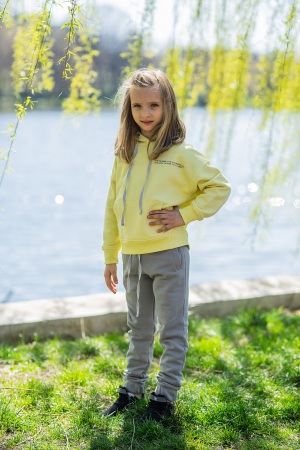 Set Easy-Fit Kids hanorac si pantalon Yellow/Grey [1]