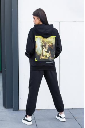 Set Easy-fit hanorac imprimat si pantalon Oversized Black [0]