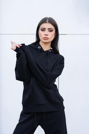 Set Easy-fit hanorac imprimat si pantalon Oversized Black [6]