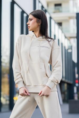 Set Easy-Fit hanorac si pantalon Oversized Light Beige [4]