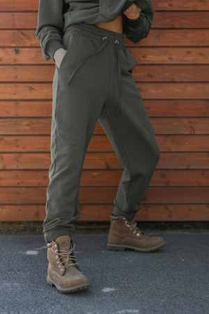 Set hanorac si pantalon Oversized Easy-Fit dark olive [4]