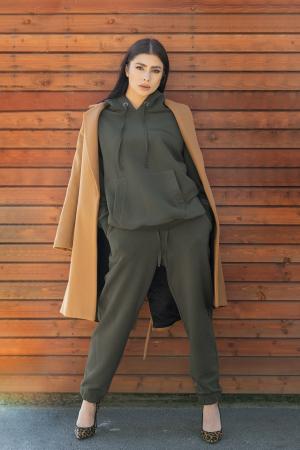 Set hanorac si pantalon Oversized Easy-Fit dark olive [0]