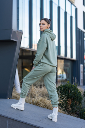 Set Easy-Fit hanorac si pantalon Oversized Light Olive [5]