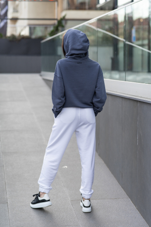 Set Easy-Fit hanorac si pantalon Oversized Anthracite Grey/White [3]
