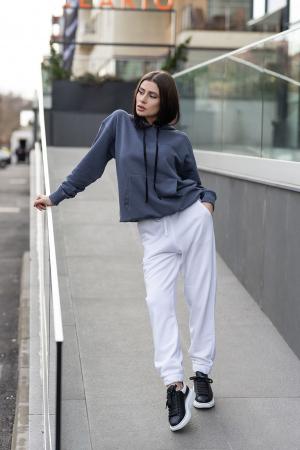 Set Easy-Fit hanorac si pantalon Oversized Anthracite Grey/White [0]