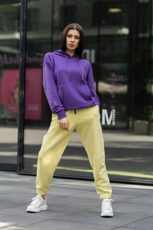 Set hanorac si pantalon Oversized Easy-Fit Mauve/Yellow [2]
