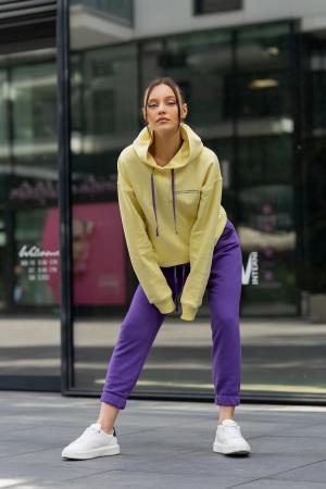 Set hanorac si pantalon Oversized Easy-Fit Yellow/Mauve [2]