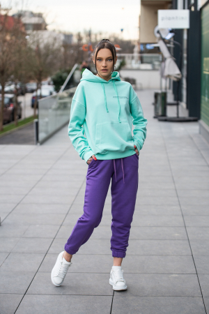 Set hanorac si pantalon Oversized Easy-Fit Mint/Mauve [0]