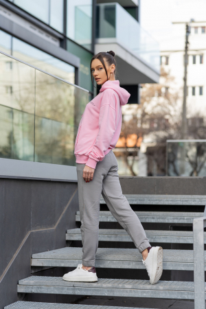 Set hanorac si pantalon Oversized Easy-Fit Rose/Grey [2]