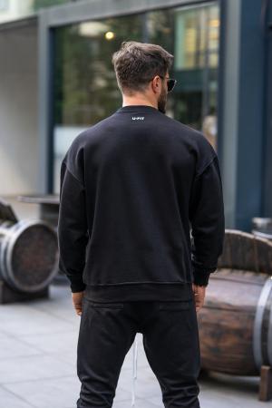 Set Easy-Fit bluza imprimata si pantalon conic negru [9]