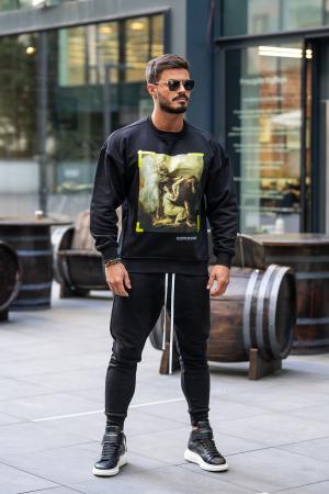 Set Easy-Fit bluza imprimata si pantalon conic negru [0]