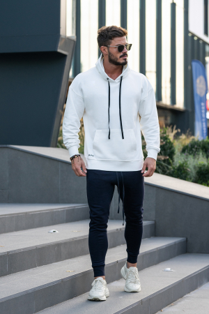 Set Easy-Fit hanorac imprimat si pantalon conic White/Navy [3]