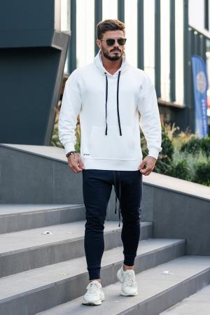 Set Easy-Fit hanorac imprimat si pantalon conic White/Navy [1]