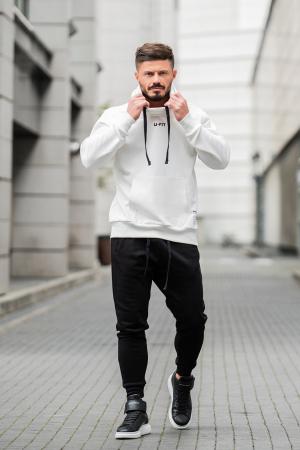 Set Kali-Fit hanorac si pantalon conic cu tur lasat Off White/Black [0]