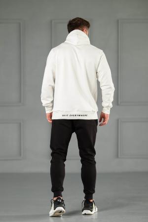 Set Kali-Fit hanorac si pantalon conic cu tur lasat Off White/Black [3]