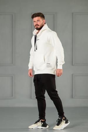 Set Kali-Fit hanorac si pantalon conic cu tur lasat Off White/Black [4]
