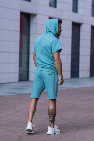 Set Malibu hanorac si pantalon scurt Dusty Turquoise [6]
