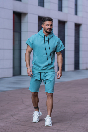 Set Malibu hanorac si pantalon scurt Dusty Turquoise [0]