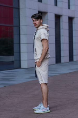 Set Malibu hanorac si pantalon scurt Light Beige [3]
