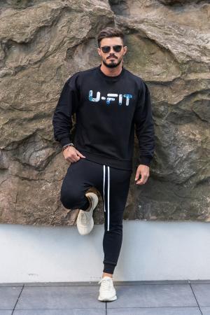 Set Easy-Fit bluza imprimata si pantalon conic Black [0]