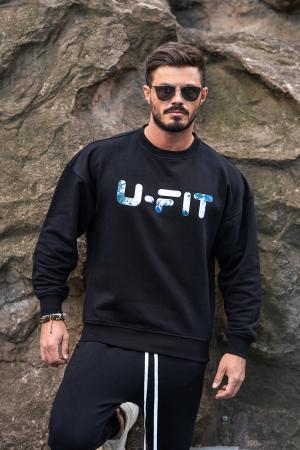 Set Easy-Fit bluza imprimata si pantalon conic Black [4]
