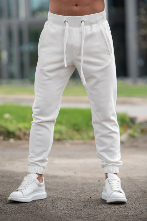 Set Rock-Fit hanorac cu fermoar si pantalon conic Off White [6]