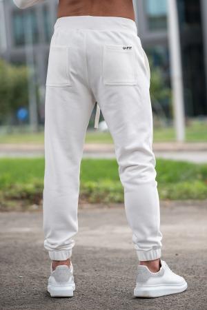 Set Rock-Fit hanorac cu fermoar si pantalon conic Off White [8]