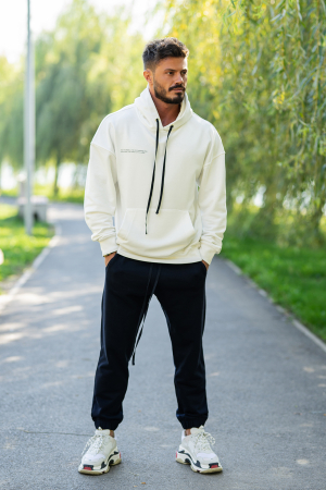 Set Easy-Fit hanorac si pantalon Oversized White/Navy [1]