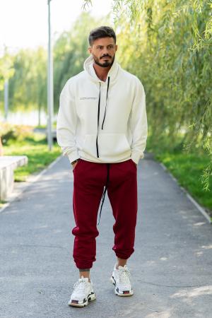 Set Easy-Fit hanorac oversized si pantalon White/Bordeaux [2]