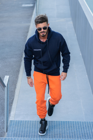 Set Easy-Fit hanorac si pantalon Oversized bleumarin/portocaliu [0]