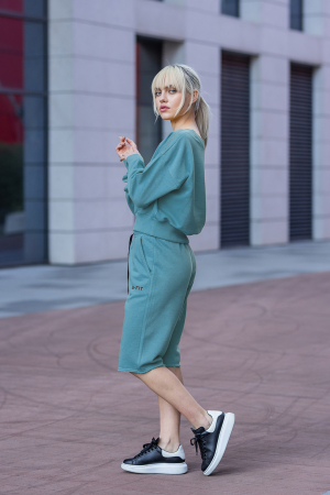 Set Undone Bluza si Pantalon Scurt Dusty Turquoise [7]