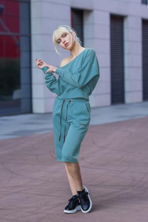 Set Undone Bluza si Pantalon Scurt Dusty Turquoise [4]