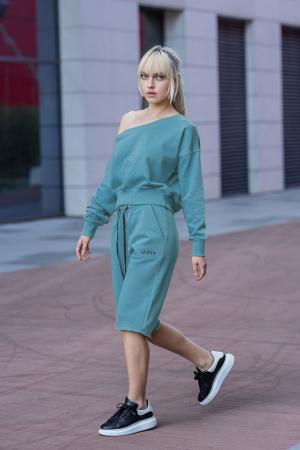 Set Undone Bluza si Pantalon Scurt Dusty Turquoise [2]