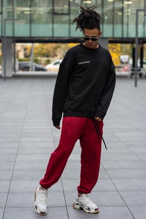 Set West Cartel Bluza Oversized si Pantalon lejer Black/Bordeaux [4]