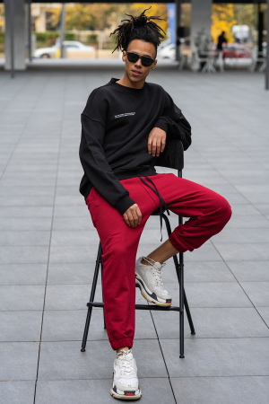 Set West Cartel Bluza Oversized si Pantalon lejer Black/Bordeaux [0]