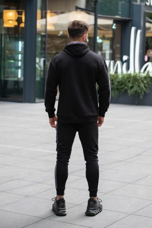 Set Cotton Blend hanorac si pantalon conic Black/Grey [5]