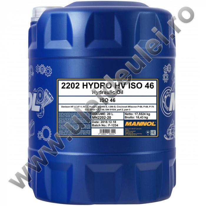 Ulei hidraulic MANNOL Hydro HV ISO 46 - 20 Litri [0]