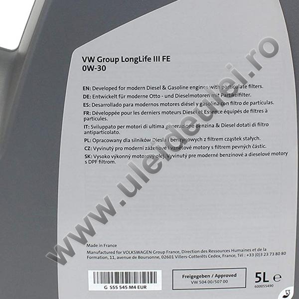 Ulei motor OE Volkswagen/Audi/Seat/Skoda Longlife III FE 0W30 - 5 Litri 2