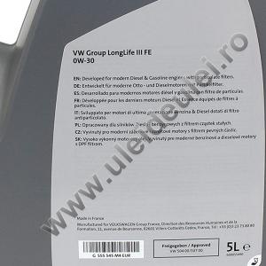 Ulei motor OE Volkswagen/Audi/Seat/Skoda Longlife III FE 0W30 - 5 Litri2