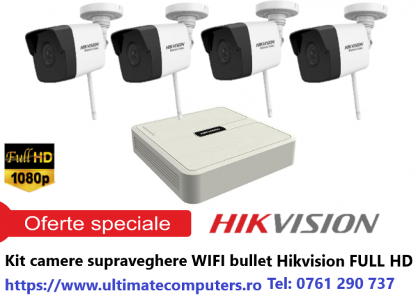 Kit supraveghere wireless, 4 camere IP, 2 MP FULL HD 0