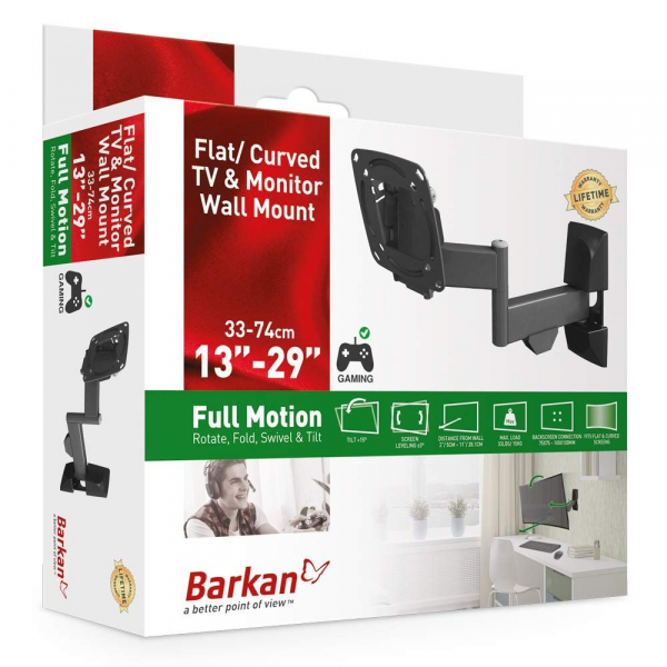 Support wall LCD/TV, The mount has 3 pivots which: rotate near the wall 180°, fold 360°, swivel near the screen connection plate 180° in addition to a tool free tilt from 0° till 15°, Fits TVs with VE 0