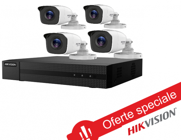 Kit de supraveghere 4 camere exterior, 2MP, IR 20M, lentila 2.8mm,DVR TURBO HD 0